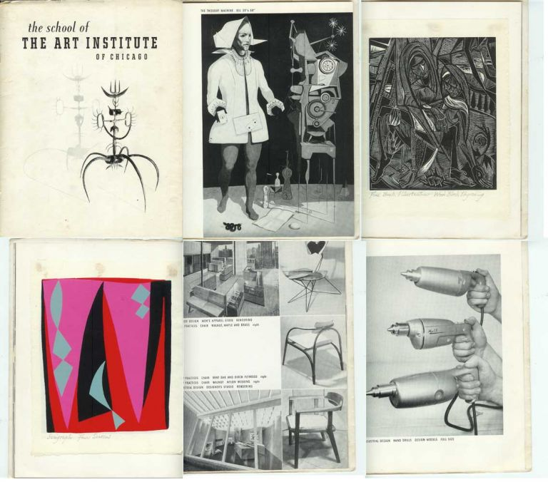 THE SCHOOL OF THE ART INSTITUTE OF CHICAGO; (A Brochure of Student Work. Painting, Sculpture, Drawing, Lithography, Etching, Volume Design, Wood Block Engraving, Industrial Design, Weaving, Silk Screen, Dress Design, Advertising Design, Ceramics, Enameling, Pattern Design, Architectural Sculpture, Ceramic Sculpture). Art Institute of Chicago, Dean of the School Hubert Ropp.