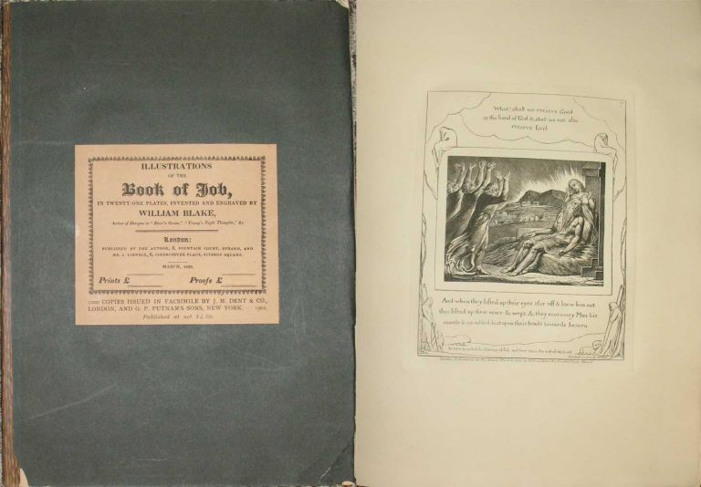 ILLUSTRATIONS OF THE BOOK OF JOB in Twenty-One Plates, Invented and Engraved by William Blake. William Blake.