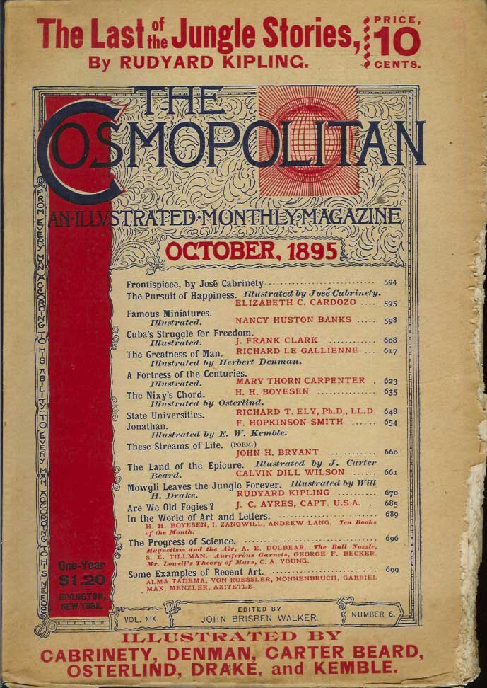 """""""The Last of the Jungle Stories by Rudyard Kipling: Mowgli Leaves the Jungle Forever."""" (aka """"The Spring Running"""" the final story in The Second Jungle Book) in The Cosmopolitan magazine, October, 1895. Vol. XIX, No. 6. TOGETHER WITH THE ORIGINAL COSMOPOLITAN ADVERTISING POSTER FOR THIS ISSUE. Rudyard Kipling."""