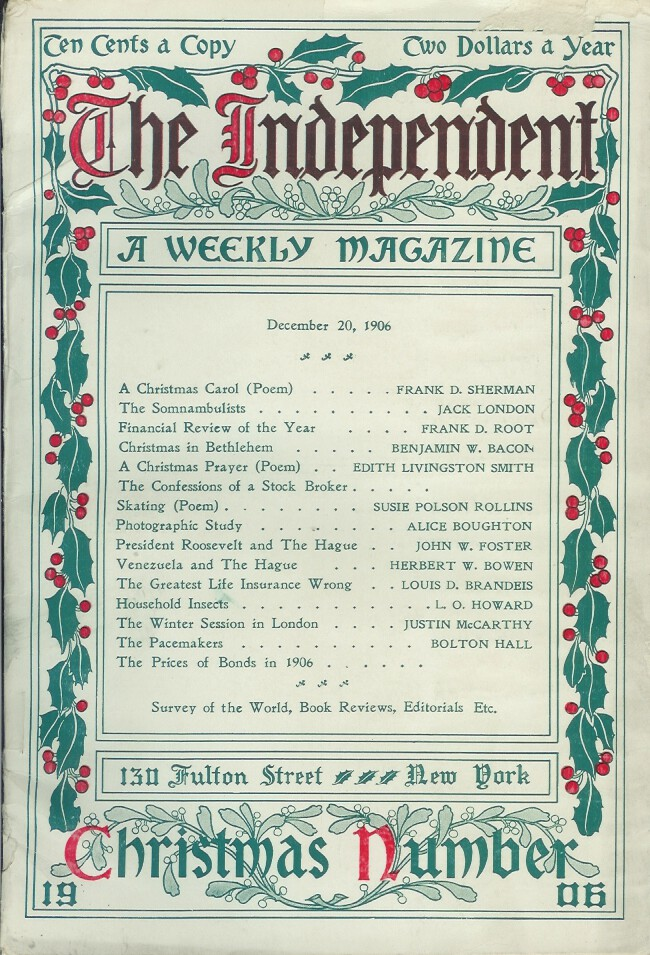 THE SOMNAMBULISTS. (essay in The Independent magazine, December 20, 1906. Jack London.
