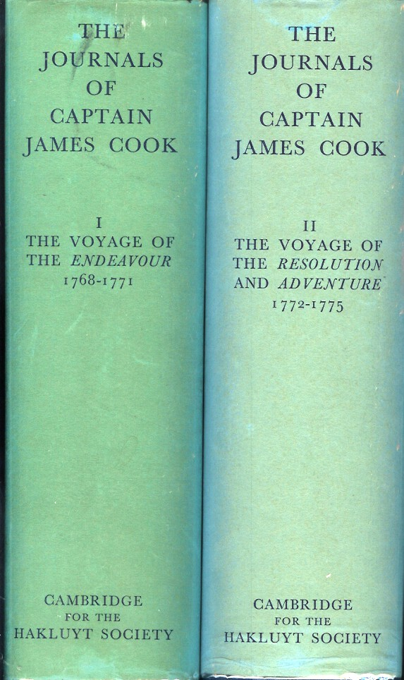 THE JOURNALS OF CAPTAIN JAMES COOK ON HIS VOYAGES OF DISCOVERY: Vol 1 - The Voyage of the Endeavor, 1768 - 1771 (and) Vol. 2 - The Voyage of the Resolution and Adventure, 1772 - 1775. (Hakluyt Society Extra Series No. XXXIV & XXXV). Captain James Cook, J. C. Beaglehole.
