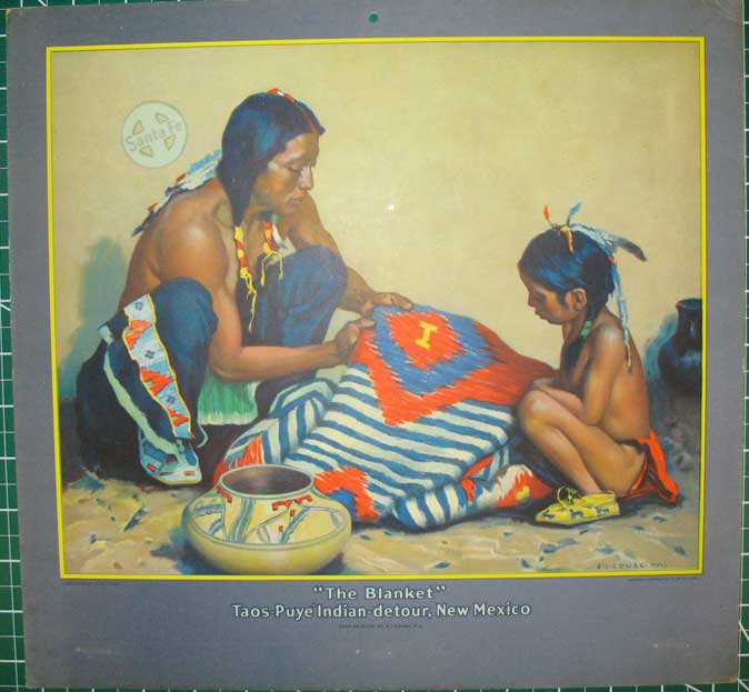 """5 Color Lithograph Atchison, Topeka & Santa Fe Railway calendar toppers after paintings by E. I. Couse: """"The Blanket"""" Taos-Puye Indian-Detour, New Mexico (1928); """"The War Bonnet Maker"""" In the Indian-detour Country (1930); """"The Weaver"""" Indian-detour Country (1931); """"The Chant"""" Indian-detour Country (1934); """"The Chief Is Still Chief (1935). E. I. Couse, Eanger Irving."""