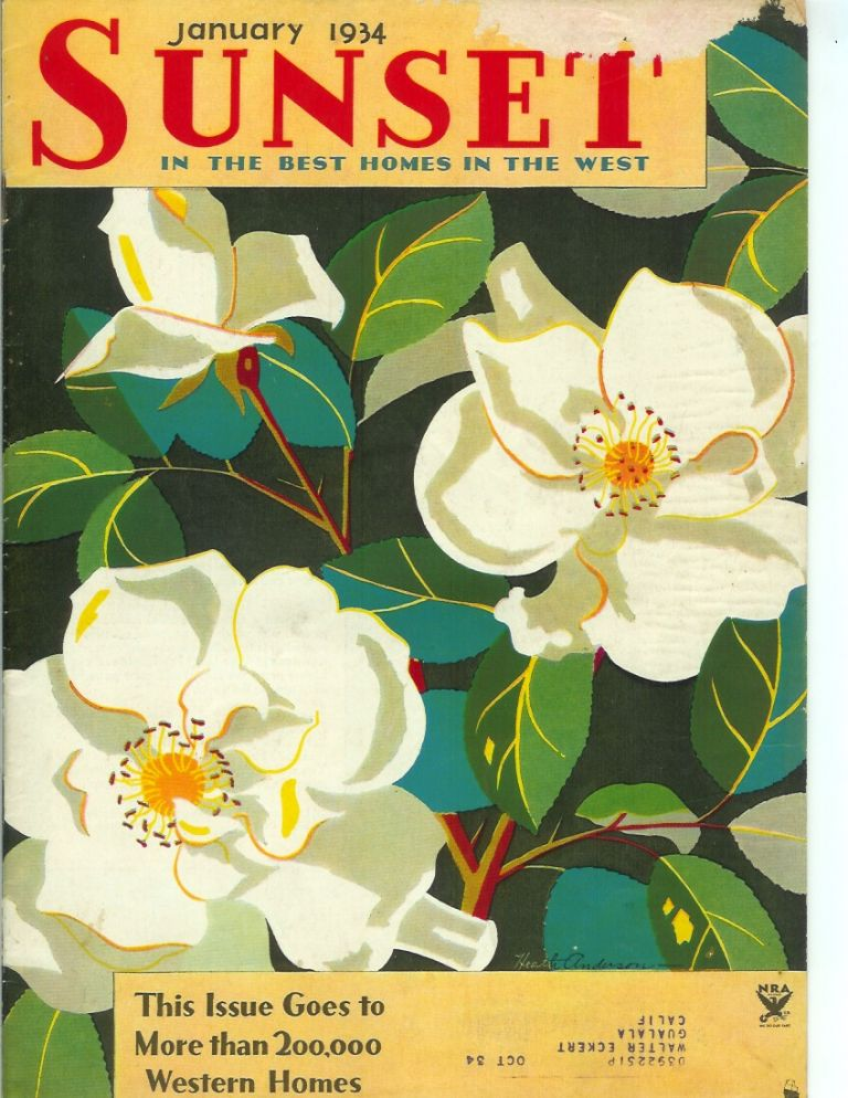 SUNSET MAGAZINE (The Pacific Monthly), Vol. 72, No. 1. January, 1934. Sunset.