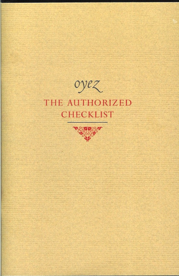 THE AUTHORIZED CHECKLIST - OYEZ. Robert Hawley, Richard Dillon, Dave Bohn.