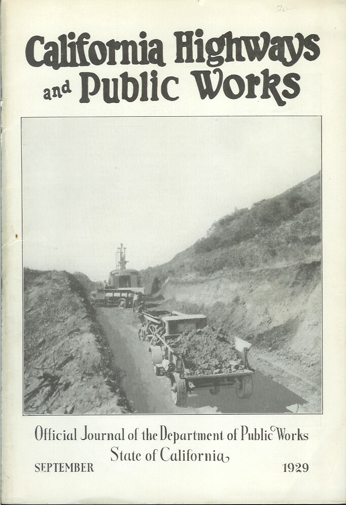 CALIFORNIA HIGHWAYS AND PUBLIC WORKS: Official Journal of the Department of Public Works, State of California. September, 1929. California Highways, Public Works.