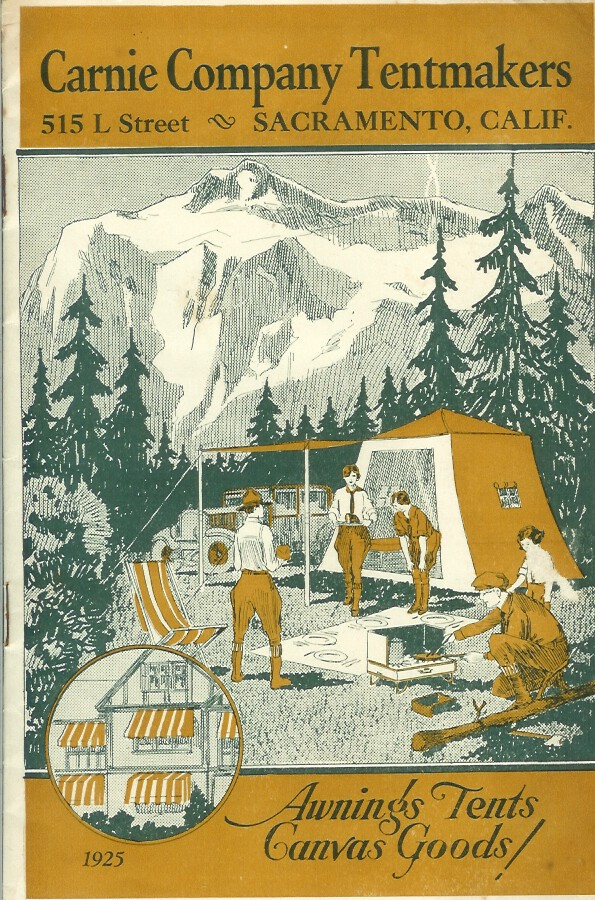 CARNIE COMPANY TENTMAKERS, AWNINGS, TENTS, CANVAS GOODS, 1925. (cover title). Camping/Outfitting, Carnie Company Tentmakers.
