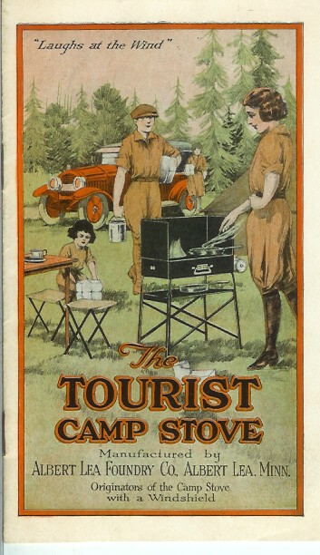 "THE TOURIST CAMP STOVE ""Laughs at the Wind."" Camping/Outfitting, Albert Lea Foundry Co."
