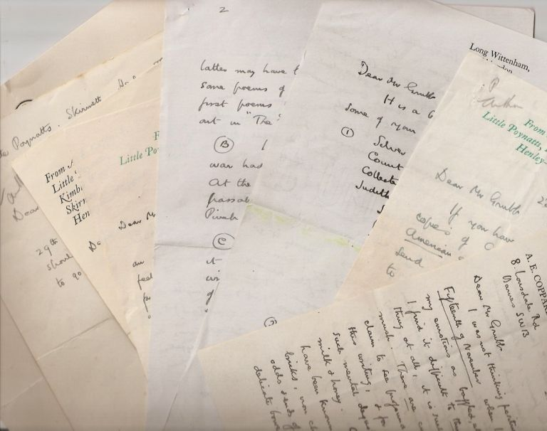 7 AUTOGRAPH LETTERS WRITTEN TO G. H. GRUBB and 1 letter from Jonathan Cape to Mr. Grubb. A. E. Coppard.