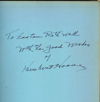 THE MEMOIRS OF HERBERT HOOVER: The Great Depression, 1929-1941. (Inscribed and signed by author).