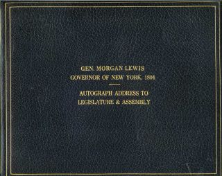 """Gen. Morgan Lewis, Governor of New York, 1804. Autograph Address to Legislature and Assembly"" (cover title). Governor Morgan Lewis."