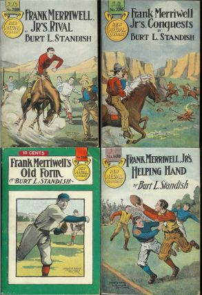 20 volumes in Street & Smith's FRANK MERRIWELL series; Frank Merriwell's Skill (237); Frank Merriwell's Iron Nerve (398); Frank Merriwell's False Friend (422); Frank Merriwell's Brother (431); Frank Merriwell's Support (437); Frank Merriwell In the Rockies (569); Frank Merriwell's New Boy (614); Frank Merriwell's Son (623); Frank Merriwell's Worst Boy (677); Frank Merriwell's Encouragement (712); Frank Merriwell's Grit (730); Frank Merriwell's Old Form (736); Frank Merriwell's Tact (754); Frank Merriwell's Mystery (755); Frank Merriwell's Young Warriors (776); Frank Merriwell's Lads (778); Frank Merriwell, Jr's. Conquests (796); Frank Merriwell, Jr's. Rival (798); Frank Merriwell, Jr's. Helping Hand (800); Frank Merriwell, Jr. In the Desert (810). Burt L. Standish.