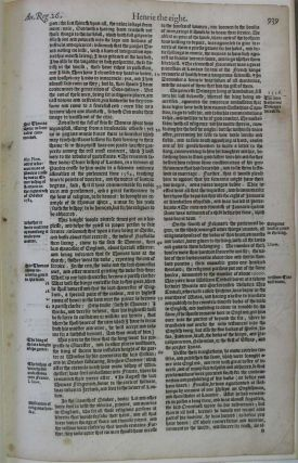 THE BOOK CALLED HOLINSHED'S CHRONICLES: An account of its inception, purpose, contributors, contents, publication, revision and influence on William Shakespeare. With a leaf from the 1587 edition.