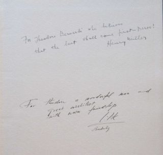 "INTO THE NIGHT LIFE. (Inscribed and signed by Henry Miller and Bezalel ""Lilik"" Schatz)."