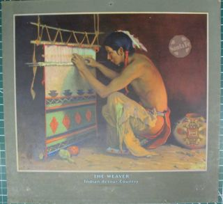 """5 Color Lithograph Atchison, Topeka & Santa Fe Railway calendar toppers after paintings by E. I. Couse: """"The Blanket"""" Taos-Puye Indian-Detour, New Mexico (1928); """"The War Bonnet Maker"""" In the Indian-detour Country (1930); """"The Weaver"""" Indian-detour Country (1931); """"The Chant"""" Indian-detour Country (1934); """"The Chief Is Still Chief (1935)."""
