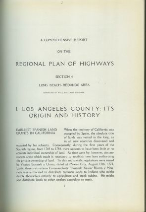 COMPREHENSIVE REPORT ON THE REGIONAL PLAN OF HIGHWAYS. Section 4: Long Beach-Redondo Area.