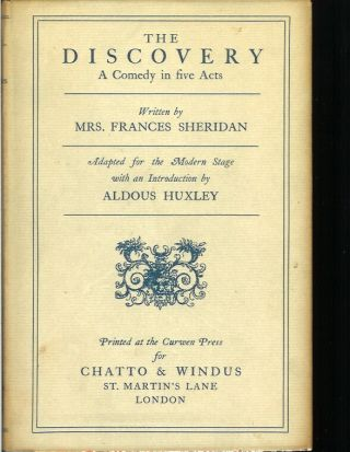 THE DISCOVERY: A Comedy in Five Acts. Written by Mrs. Frances Sheridan. Adopted for the Modern...