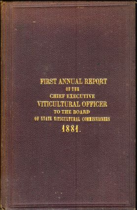 FIRST ANNUAL REPORT OF THE CHIEF EXECUTIVE OFFICER TO THE BOARD OF STATE VITICULTURAL...