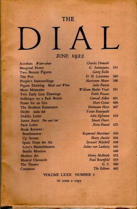 THE DIAL, JUNE 1922. (Volume LXXII Number 6). D. H. Lawrence, Marianne Moore, William Butler...