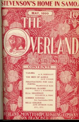 "OVERLAND MONTHLY: Vol. XXXIII, Second Series, January - June (and) Vol. XXXIV, Second Series, July - December. Two bound volumes containing 6 monthly numbers each). Original publications of 8 short stories later collected in London's first book ""The Son of the Wolf."""
