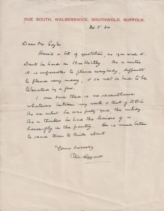 "AUTOGRAPH LETTER TO ""MR COYLE."" A. E. Coppard"