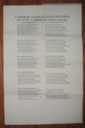 UNHEROIC COUPLETS FOR THE POETS OF NEW ALBION. Broadside Number Two: April 8th 1934.