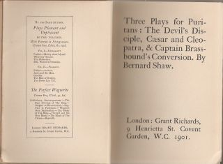 """THREE PLAYS FOR PURITANS: The Devil's Disciple; Caesar and Cleopatra; & Captain Brassbound""""s Conversion."""